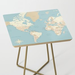 "Cream, brown and muted teal world map, ""Jett"" Side Table"