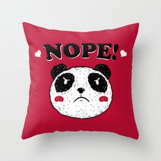 Nope Panda Throw Pillow