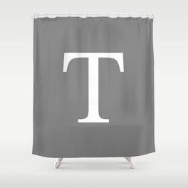Darker Gray Basic Monogram T Shower Curtain