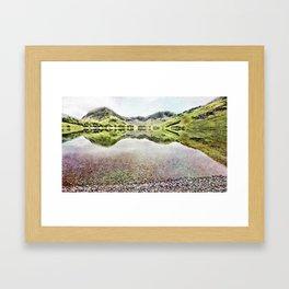 Buttermere Mirror Green Mountains, Lake District, UK. Watercolour landscape. Framed Art Print