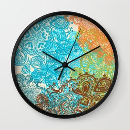 Indian boho pattern with ornament in blue, ornage and green Wall Clock
