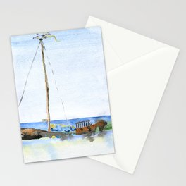 Ship in Nida, Lithuania. Watercolor. Stationery Cards