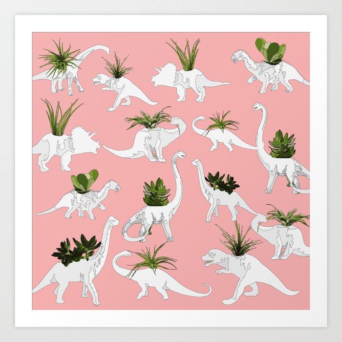 Dinosaurs & Succulents Kunstdrucke
