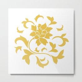 Oriental Flower - Mustard Yellow Circular Pattern On White Background Metal Print