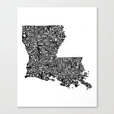 Typographic Louisiana Canvas Print