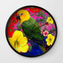 TROPICAL YELLOW-GREEN PARROT RED-BLUE FLORAL Wall Clock