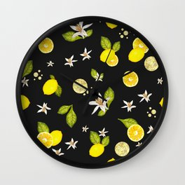 Lemon, #lemon slice and leaves pattern black background #artprint Wall Clock