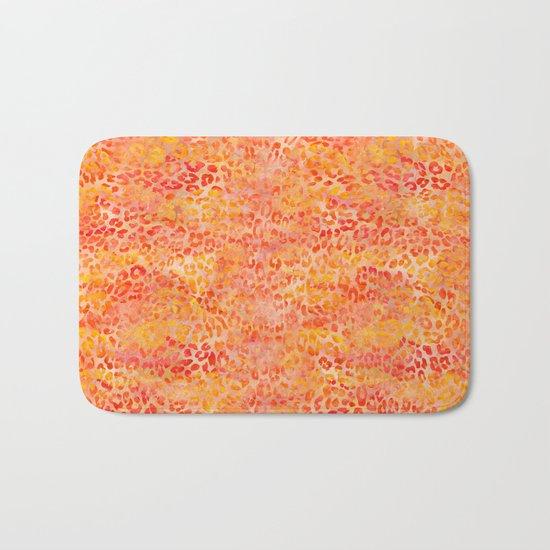 Orange Leopard Print Bath Mat