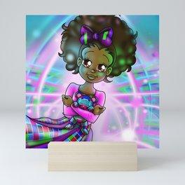 African American Girl and Teddy Bear Mini Art Print