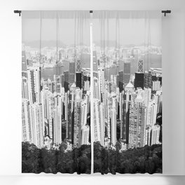 Hong Kong Cityscape // Sky Scraper Skyline Landscape Photography Black and White Buildings Blackout Curtain