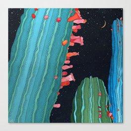 Midnight Cactus Conversations Canvas Print