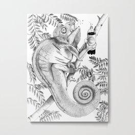 Burpping Chameleon Metal Print