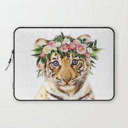 Baby Tiger With Flower Crown, Baby Animals Art Print By Synplus Laptop Sleeve
