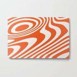 Deep Orange Zebra Grooves Abstract Pattern Metal Print