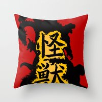 kaiju Throw Pillows featuring Kaiju Explosion by PCRK