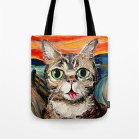lil bub Tote Bags featuring Lil Bub Meets The Scream by Sagittarius Gallery