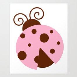 Ladybug, Ladybird, Lady Beetle - Pink Brown Art Print