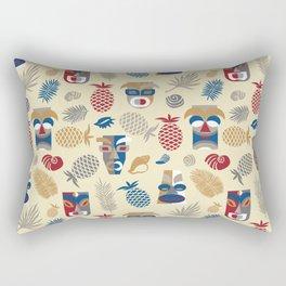 tiki masks light yellow seamless pattern Rectangular Pillow
