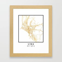 LIMA PERU CITY STREET MAP ART Framed Art Print
