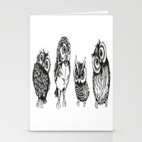 owls Stationery Cards featuring OWLS by Acus