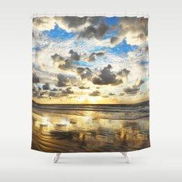 Golden Surf Sunrise Shower Curtain