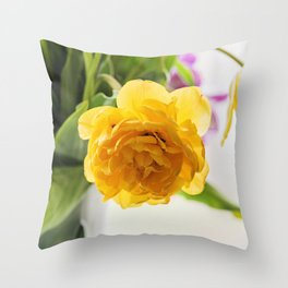 Yellow tulip in a vase, window on the background. Throw Pillow