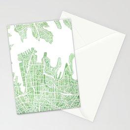 Sydney Australia watercolor city map Stationery Cards