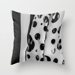Holes And Stripes – Wallpaper And Leather Throw Pillow