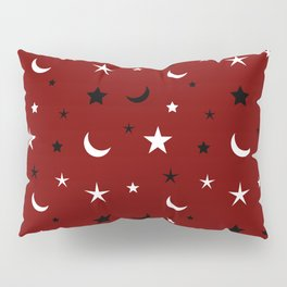 Red background with black and white moon and star pattern Pillow Sham