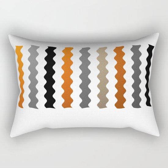 Vertical Waves - Metallic Gold, Silver and Black Vertical Wavy Stripes Rectangular Pillow