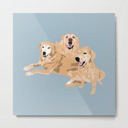 3 Golden Retrievers Metal Print