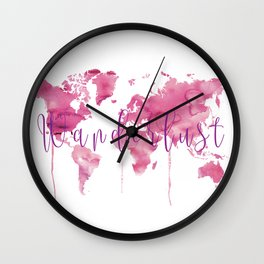 World Map Wanderlust - Pink Watercolor Wall Clock