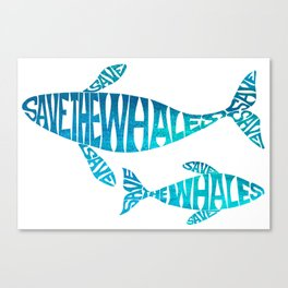 Save the Whales, Aqua blue Canvas Print