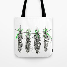 Feather Bunting. Green Ribbon Tote Bag