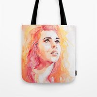 bad wolf Tote Bags featuring Bad Wolf by Maria Bruggeman