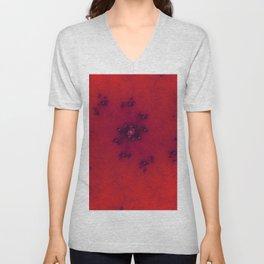 Red Fractal Unisex V-Neck