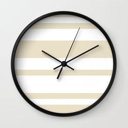 Mixed Horizontal Stripes - White and Pearl Brown Wall Clock