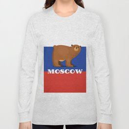 Moscow Bear and flag travel poster. Long Sleeve T-shirt