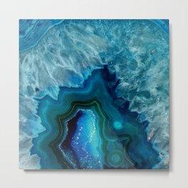 Teal Blue Agate Metal Print