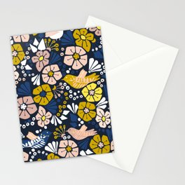 Blue wellness garden - florals matching to design for a happy life Stationery Cards