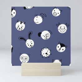 Kids Animal Polka Dots Blue White Mini Art Print