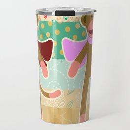 Cute Sock Monkey on Cloth Pattern Travel Mug