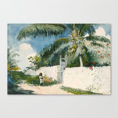 Winslow Homer - A Garden in Nassau,1885 Canvas Print