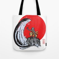aang Tote Bags featuring Aang in the Avatar State by Tom Ledin