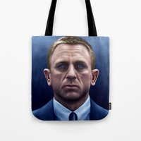 james bond Tote Bags featuring James Bond by Vincent Leung