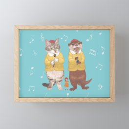 A GIRL WITH CAT and OTTER wide Framed Mini Art Print