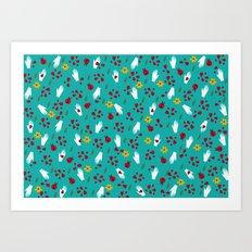 Ladybirds and hands pattern Art Print