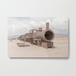 Cemetery for trains Uyuni | Bolivia travel photography | Bright and pastel colored photo print | Metal Print