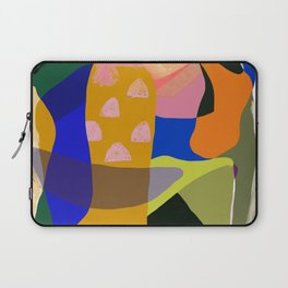 Shapes and Layers no.20 - Abstract painting olive green blue orange black Laptop Sleeve