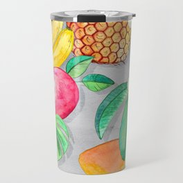 Tropical Paradise Fruit & Parrot Pattern Travel Mug